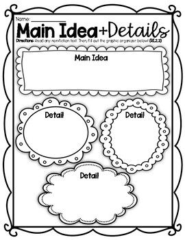 (((2 PAGES))) Main Idea and Details Graphic Organizer