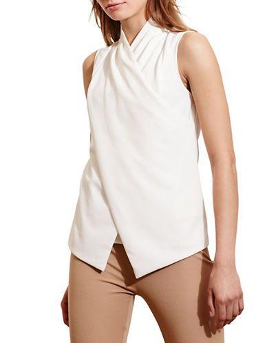 Lauren Ralph Lauren Jersey Surplice Top Women's Cream X-Large