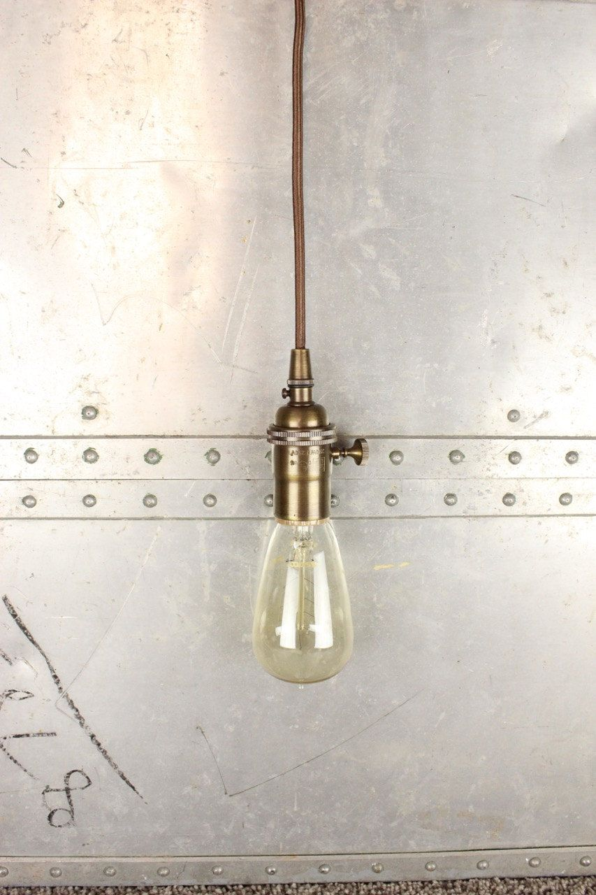 plug in industrial lighting. Industrial Pendant Light Antique Brass Bare Bulb Socket Edison Plug In Or Canopy Rayon Cloth Covered Black Brown Wire Lighting