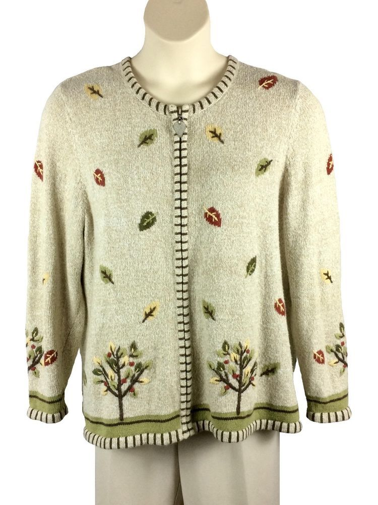 Plus size available Women cotton sweater pullover with leaves