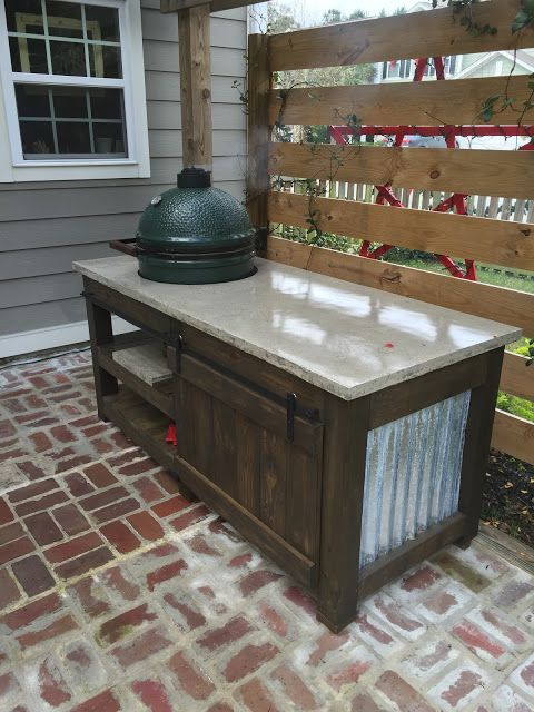 Superieur The Perfect Big Green Egg Table With Concrete Top And Barn Door | The  Lowcountry Lady