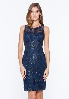 Ideeli Sue Wong Navy Blue Tail Dress With Beaded Details