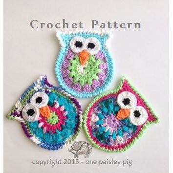 Owl Coasters or Appliques - PDF CROCHET PATTERN | Crochet Owls, Any ...