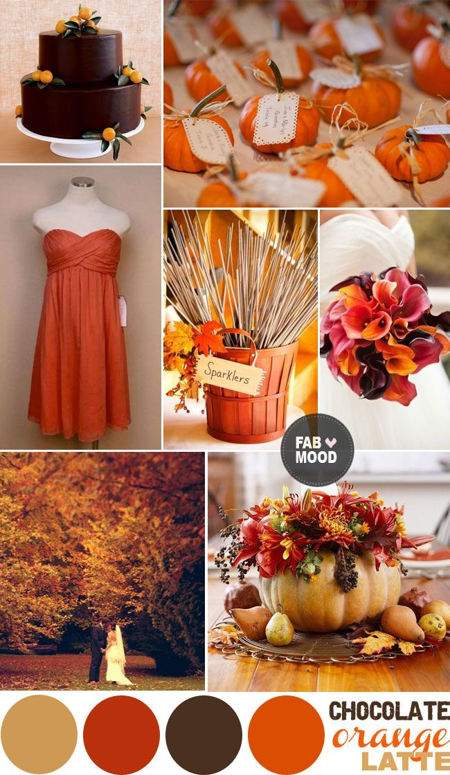 Autumn wedding color palette brown orange wedding colors for Wedding color scheme ideas