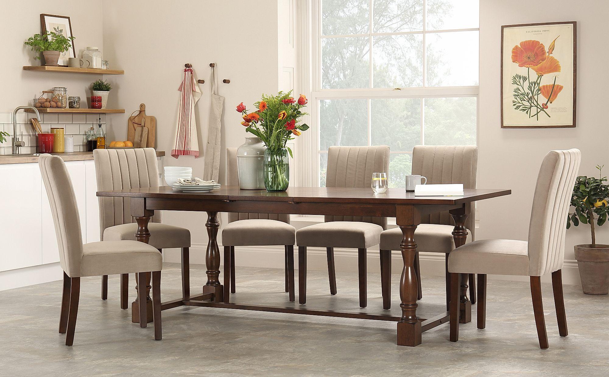 Devonshire Dark Wood Extending Dining Table With 8 Salisbury Mink