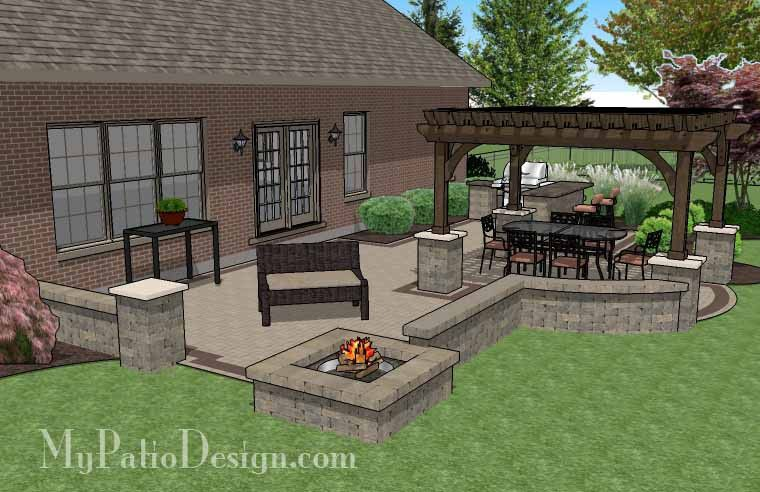 Charmant Creative Brick Patio Design With Pergola, Fire Pit And Bar   700 Sq. Ft.