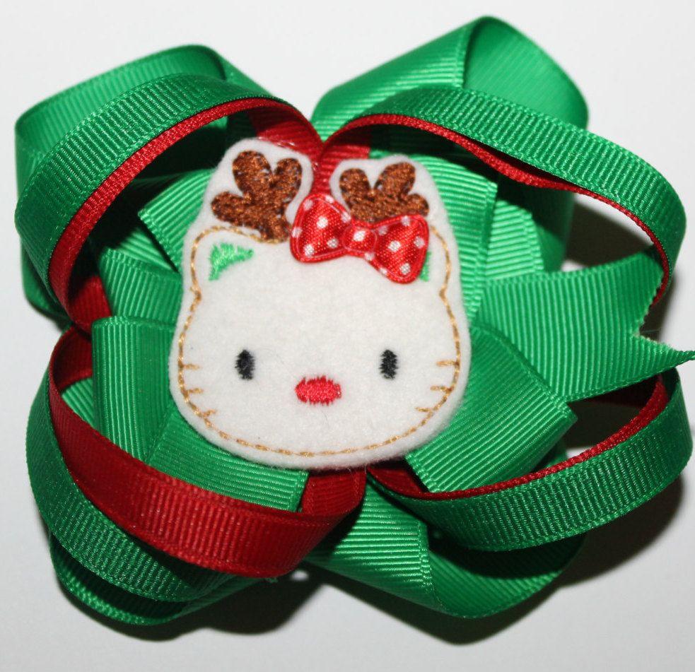 Hello kitty christmas hair bow hello kitty christmas bow hello