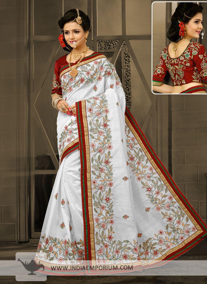 Attractive Art Silk White & #Maroon #Embroidered #Saree | Saree ...