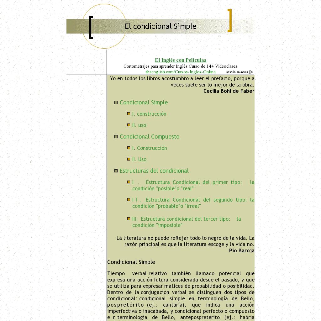 Explicación Del Condicional Simple Y Del Condicional
