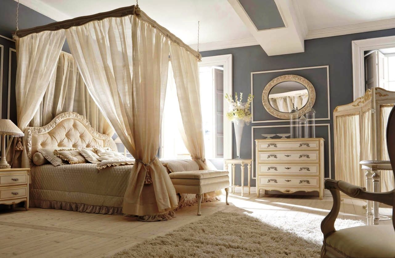 Awesome Decorating A Classic Bedroom Ideas With White Canopy Bed Also Gray Painting Wall And Oval Mirror Wall Mounted Above Drawer Vanity Including Beige Fur Rug On Wooden Floor Basic Tips for Decorating a Classic Bedroom by Budgeting and Maintaining Bedroom design http://seekayem.com