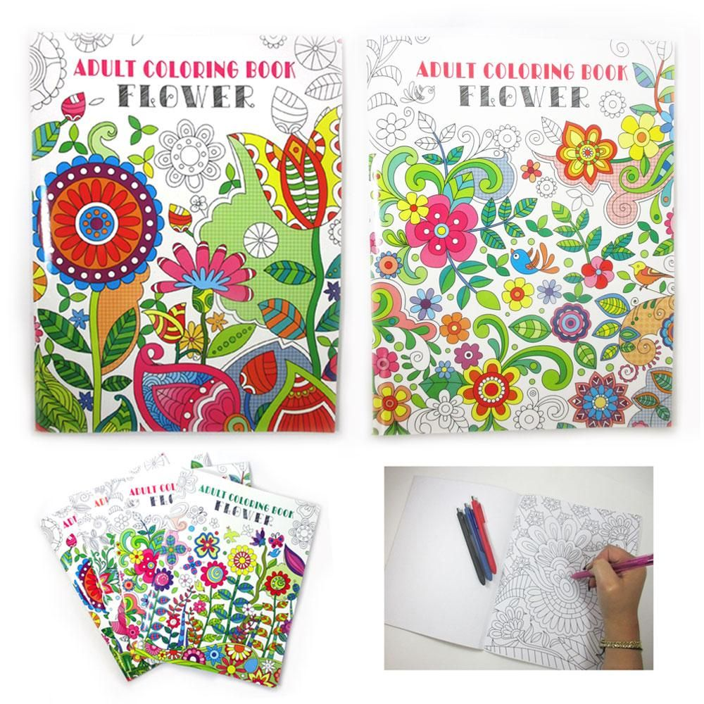 2 Pc Adult Coloring Books Children Floral Painting Stress Relief Relax Activity