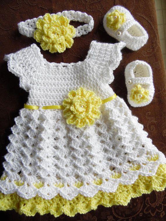 Crochet bebé conjunto de vestido venda Vestido de blanco y ...