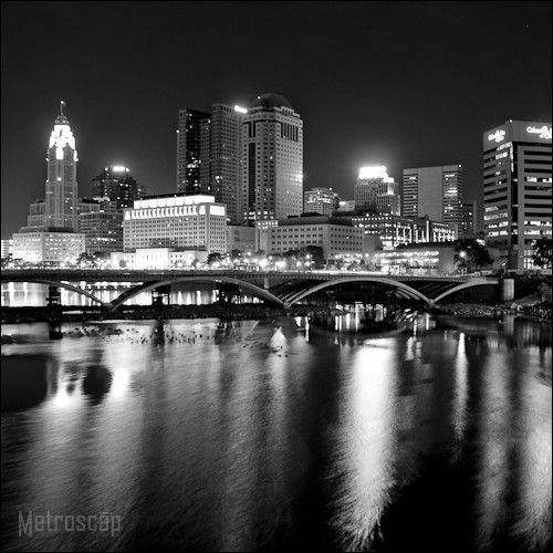 "Black and White Picture of the Columbus Skyline at Night.  As 9""x 9"" Framed Print"