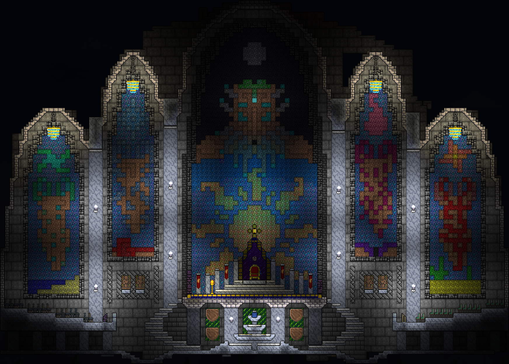 Terraria Amazing Throne Room With Moon Lord And Pillars