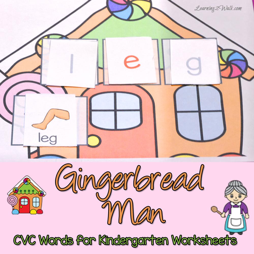 worksheet Cvc Word Worksheets gingerbread man cvc words for kindergarten worksheets