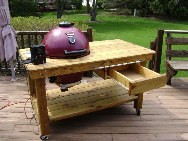 Httom S Akorn Table Do It Yourself Kamado Guru Bbq Table Grill Table Diy Grill