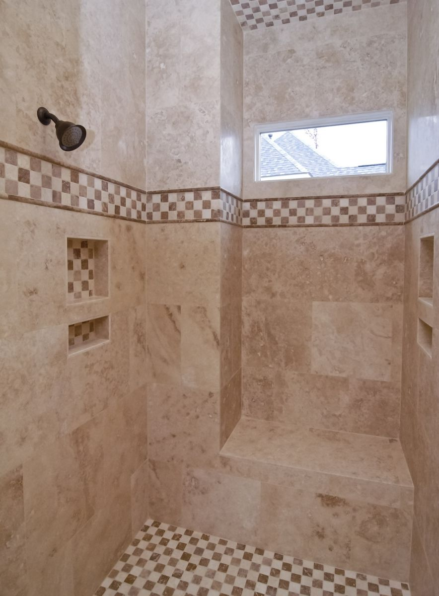 the perfect walk in shower love the light from the window the rh pinterest com Built in Shower Ideas Shower Bath Shelves