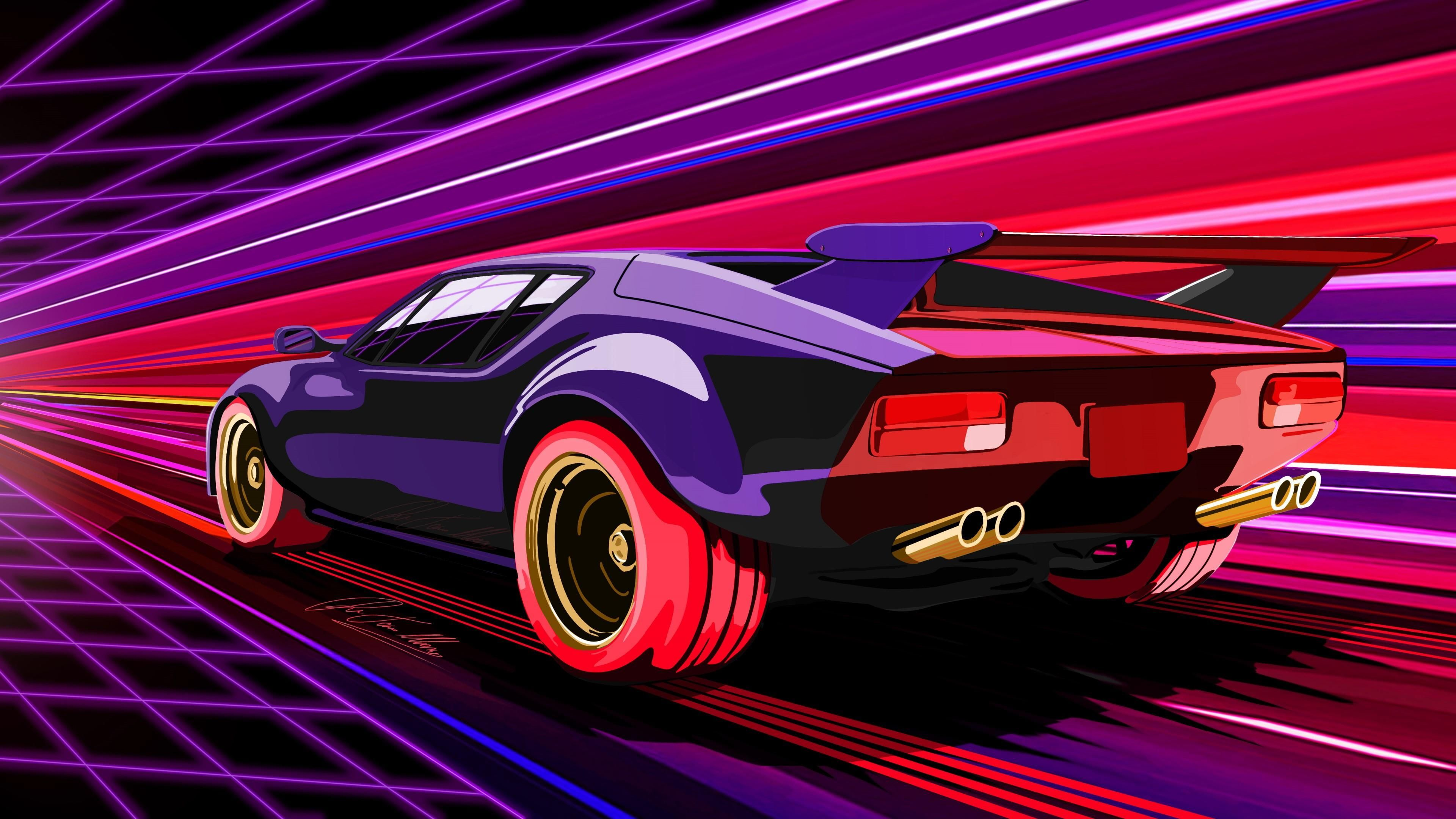 Retrowave Car Vehicle Sports Car Synthwave 80s 1980s Performance Car Race Car Graphics Neon Light Concept Car Neo Car Artwork Art Cars Car Illustration