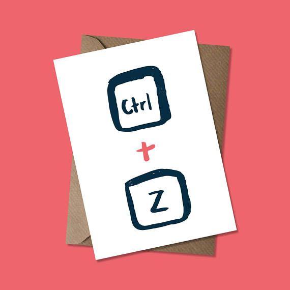 Ctrl Z Sorry Undo Computer Geeks Greeting Card