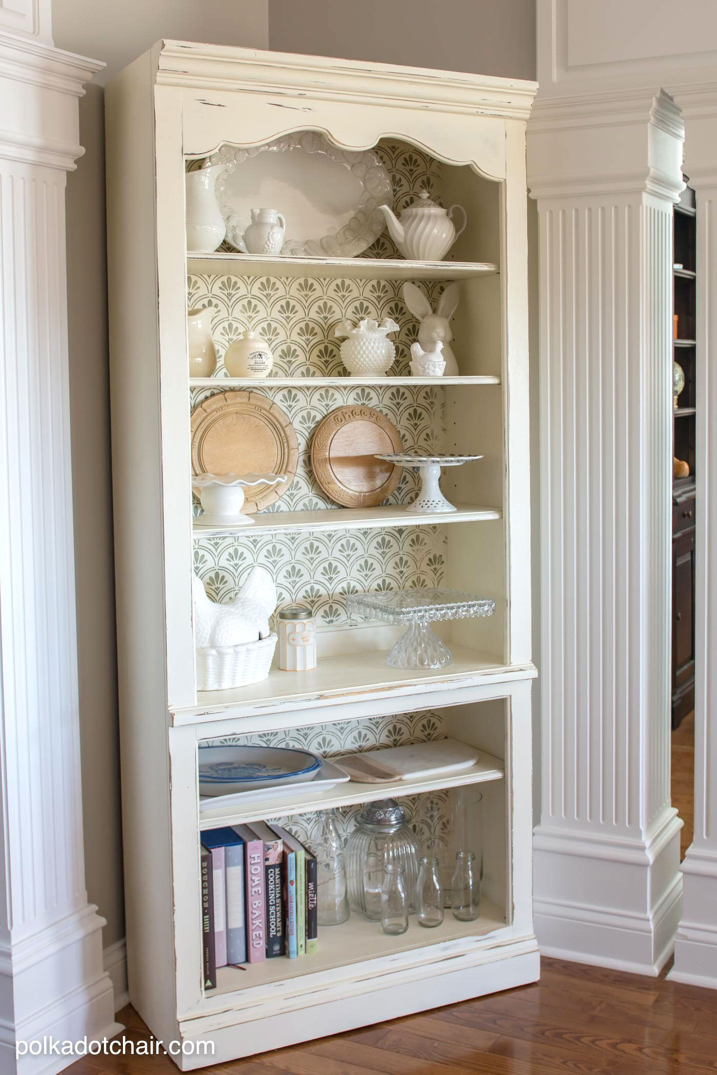 Diy Painted Stencil Bathroom Floor: DIY Stenciled Bookcase Project, She Painted The Bookcase