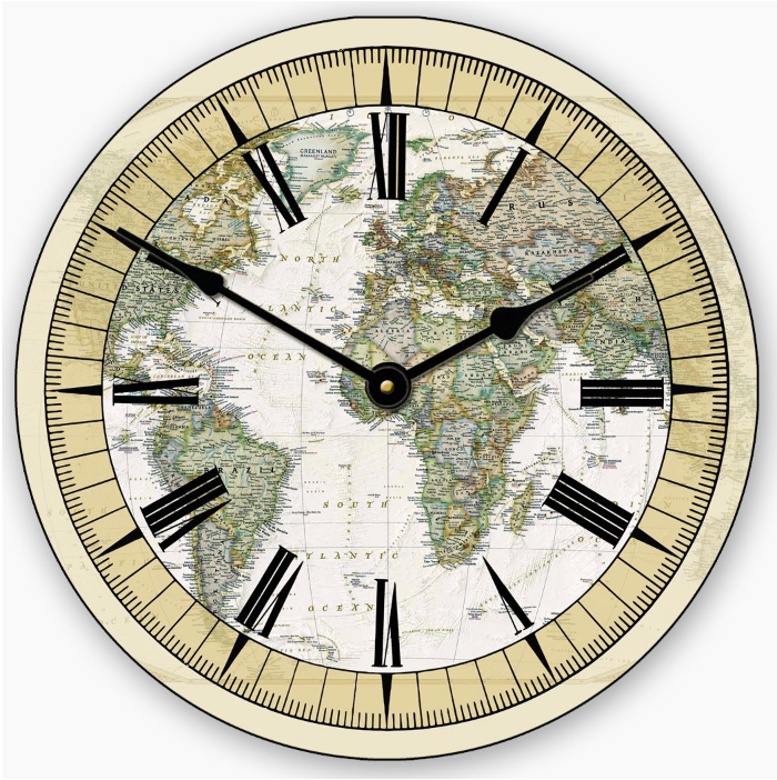 The world map clock on the wall in your classrooms was your best timeworks wall clocks large wall clocks oversized clocks on sale the world map gumiabroncs