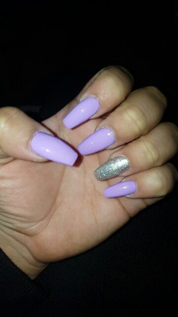 Purple Silver Coffin Nails With Images Purple And Silver Nails