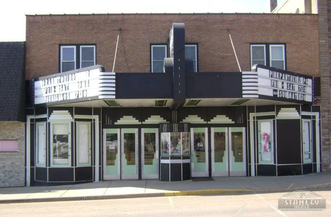 Theater Exterior With Simple Marquee Outside Poster Placement Small Ticket Booth In The Center Bw Facade Art Deco Deco