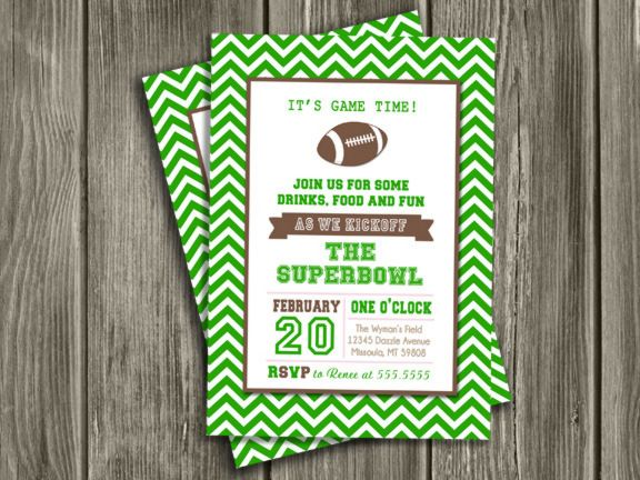 picture about Super Bowl Party Invitations Free Printable identified as Printable Soccer Celebration Invitation Tremendous Bowl