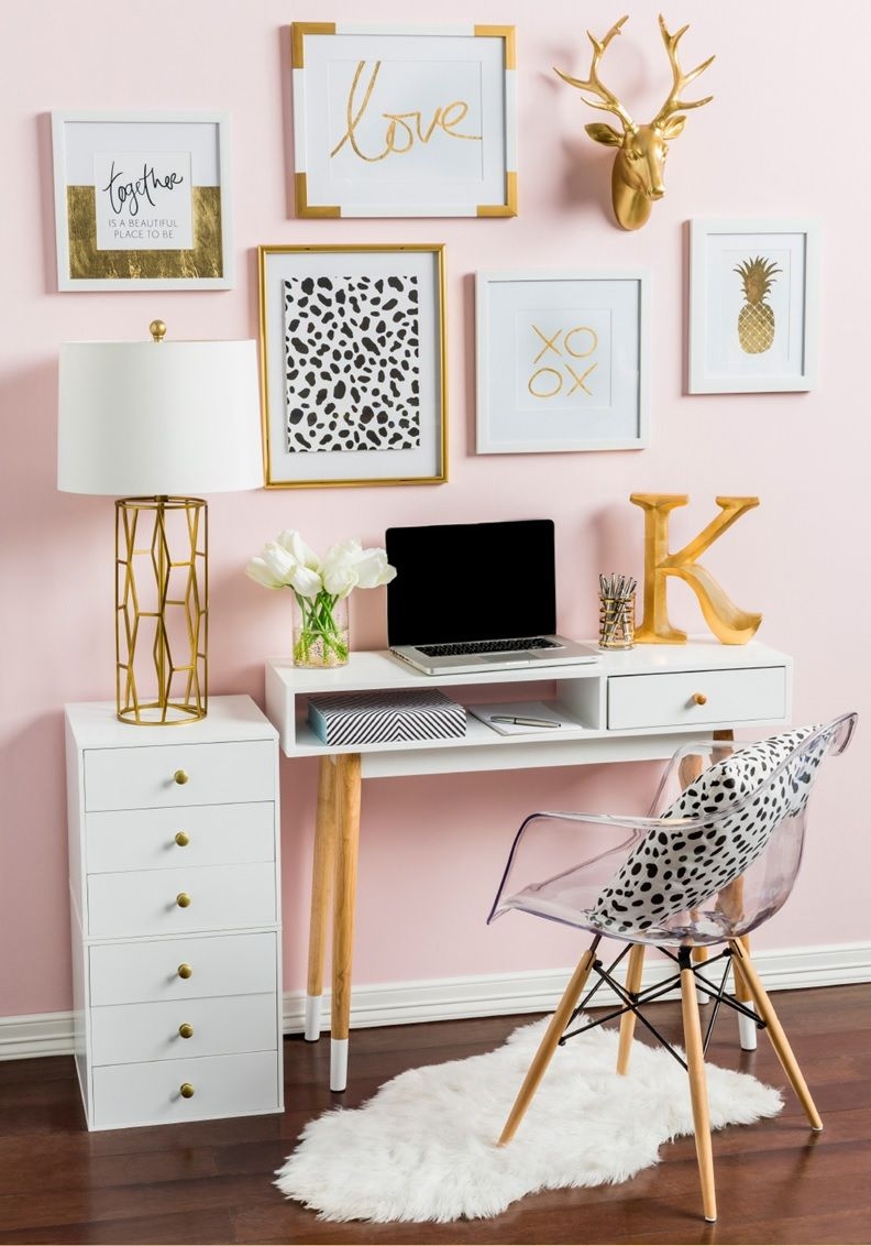 Gold Pink Desk Decor White Bedroom Accents