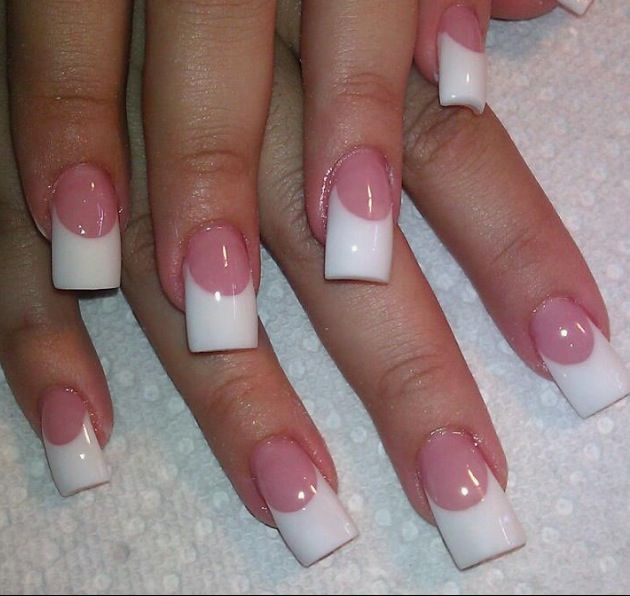 Solar Nails~White tips w/pink glitter and clear gel finish ...  |Clear Solar Nails