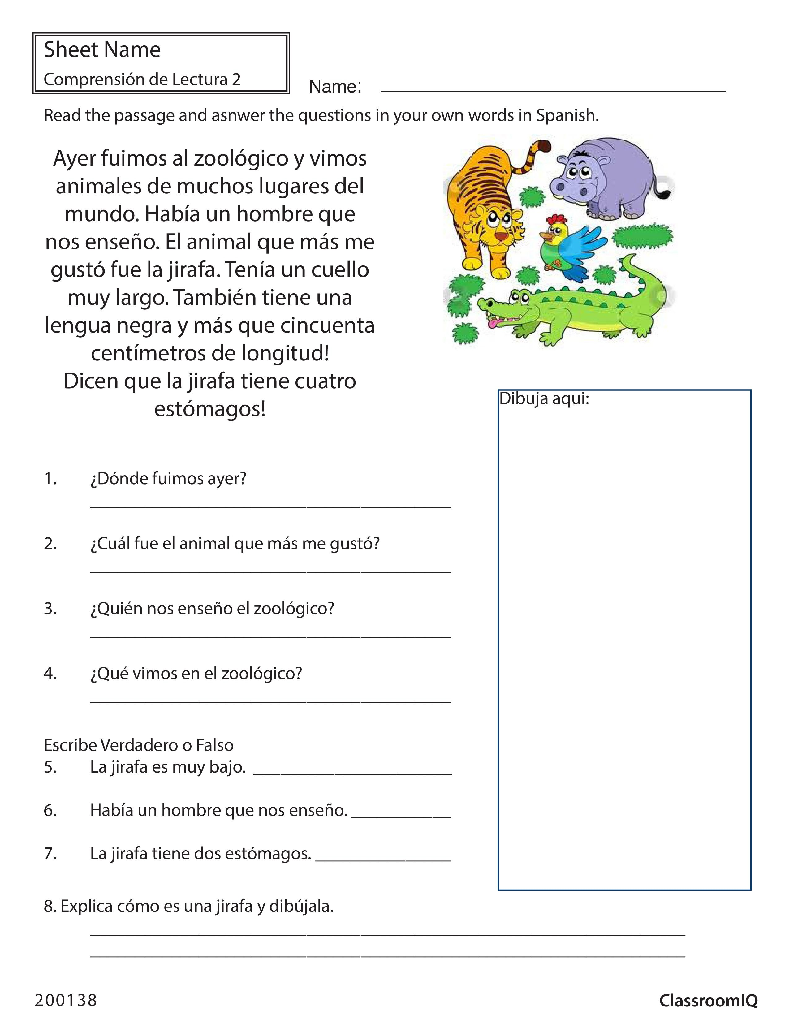Respond to passage zoo spanishworksheet newteachers printable respond to passage zoo spanishworksheet newteachers printable spanish worksheetsspanish robcynllc Image collections