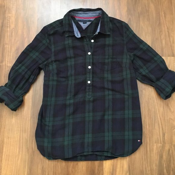 9fbe0d1c Tommy Hilfiger Top Blue and green plaid shirt. Buttons down half way. Tommy  Hilfiger Tops Button Down Shirts