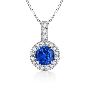 Angara Dangling Round Tanzanite and Diamond Halo Pendant in Platinum CsVN5KE