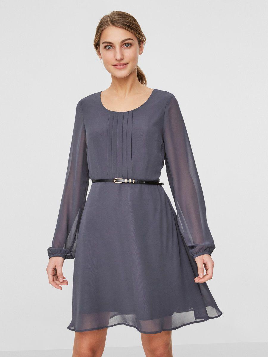 Feminines Kleid mit langen Ärmeln | Runder Ausschnitt mit ...