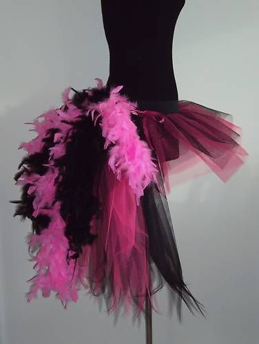 Burlesque Tutu Skirt Pink Black Bustle Feathers 6 8 10 12 MouLin RouGe