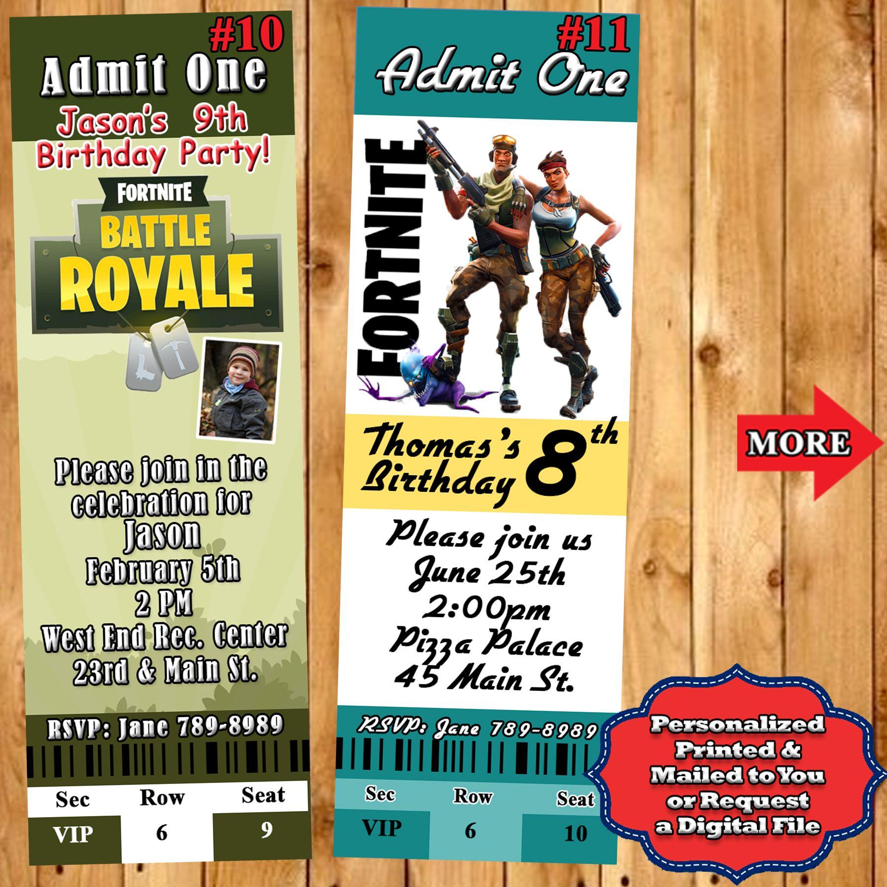 Fortnite birthday invitations 10 ea personalized custom