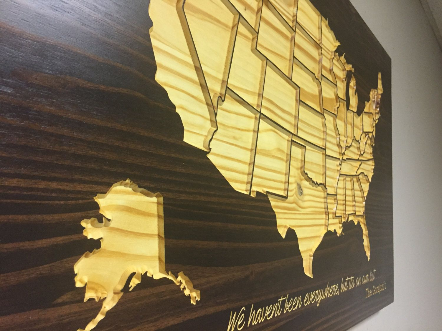 Wooden US Map, Wood wall art, Home Decor, United States Map with ...