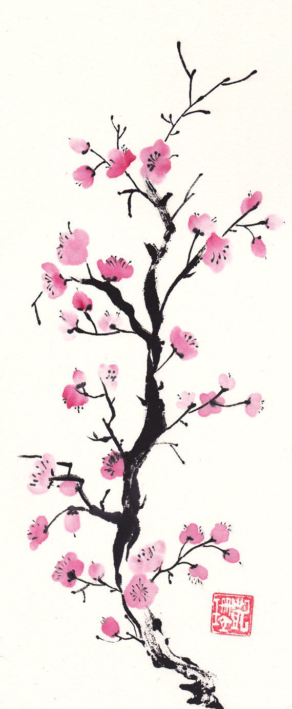 Watercolor Original Pink Plum Blossom Chinese Brush Painting
