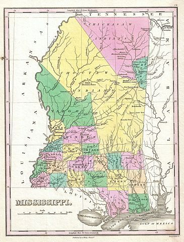 Image detail for -1827 map of Mississippi showing the