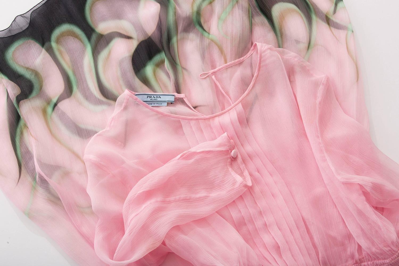 b42b6aef9023 Prada Pink Silk Chiffon Dress With Flame Print At Hem
