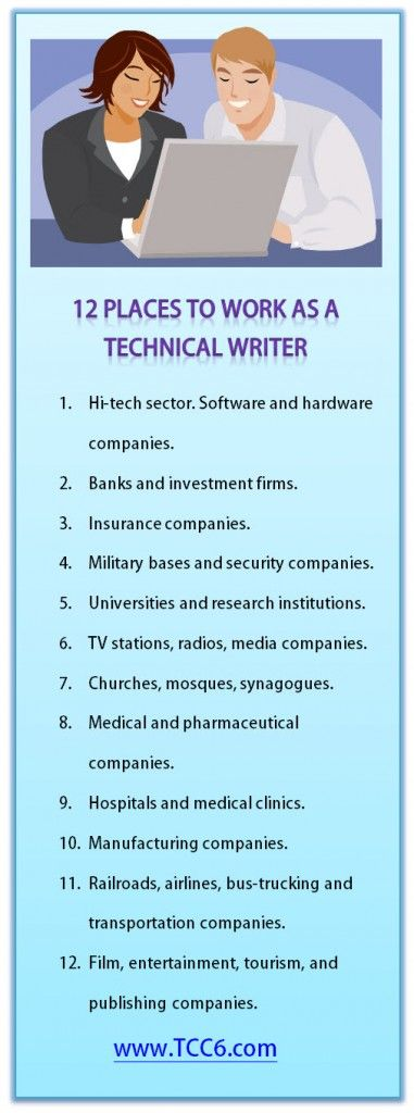12 Places to Work for Technical Writers #techcomm #technical