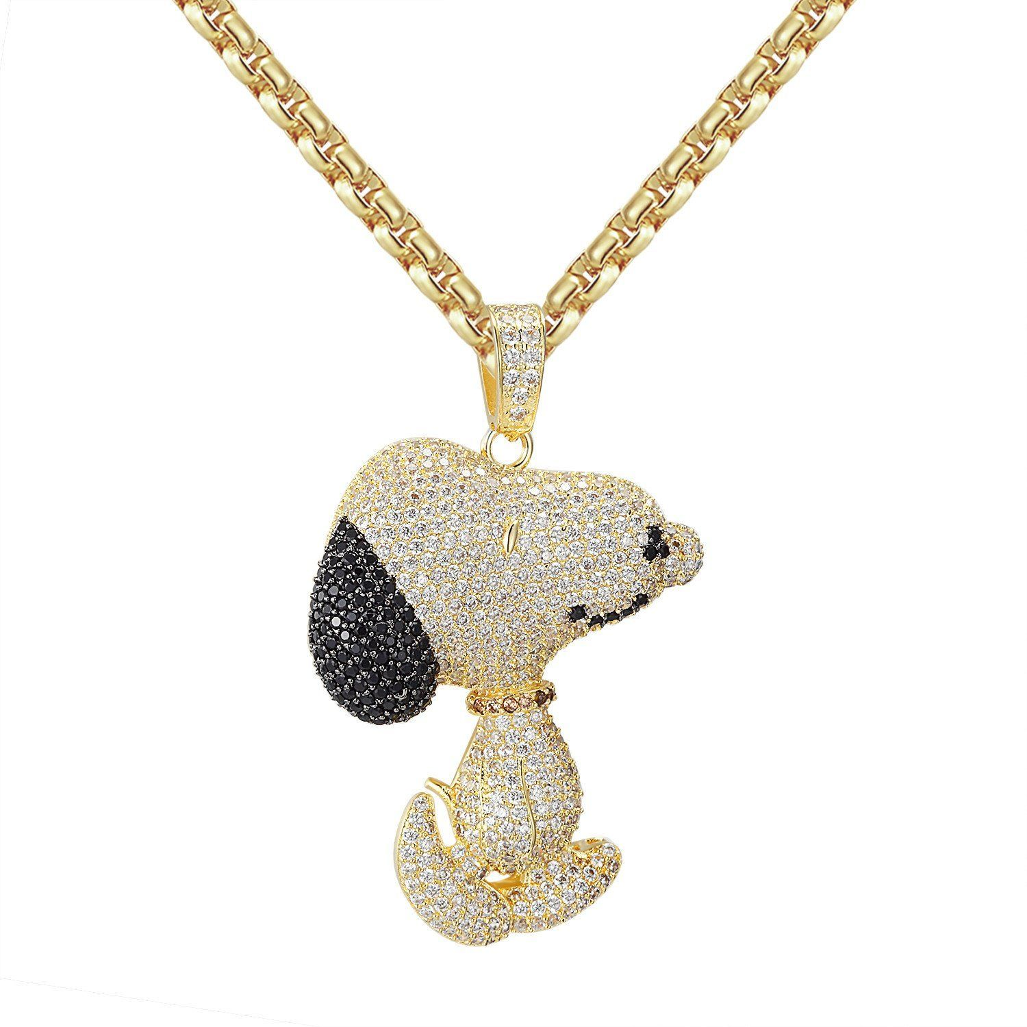 7d4d581e992f7 Custom Iced Out 14k Gold Finish Black Snoopy Dog Pendant with 24 ...
