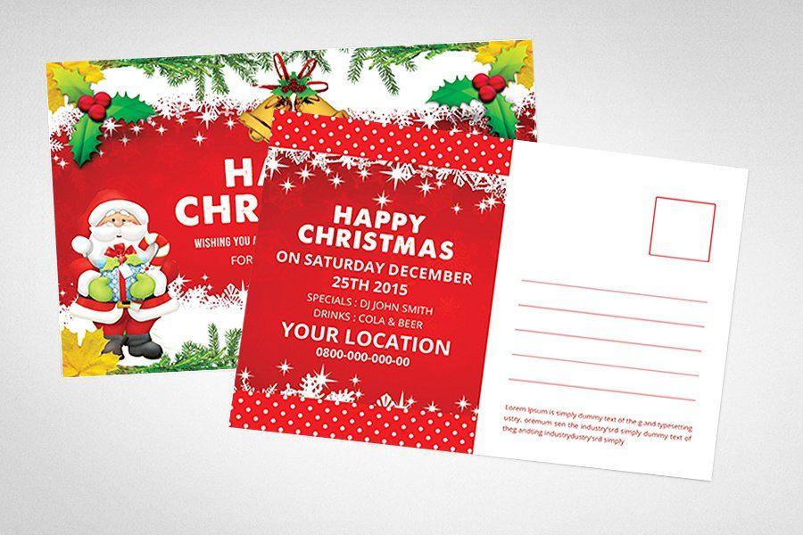 Christmas Postcard Postcard Christmas Templates Card Christmas Postcard Happy Christmas Wishes Postcard Mockup