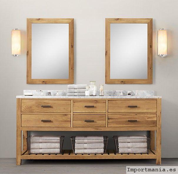 Fotos muebles ba os en madera ba os pinterest for Imagenes de banos sencillos