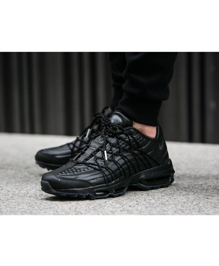 official photos ffee3 02054 Nike Air Max 95 Ultra Se Premium Triple Black Trainers | nike air ...