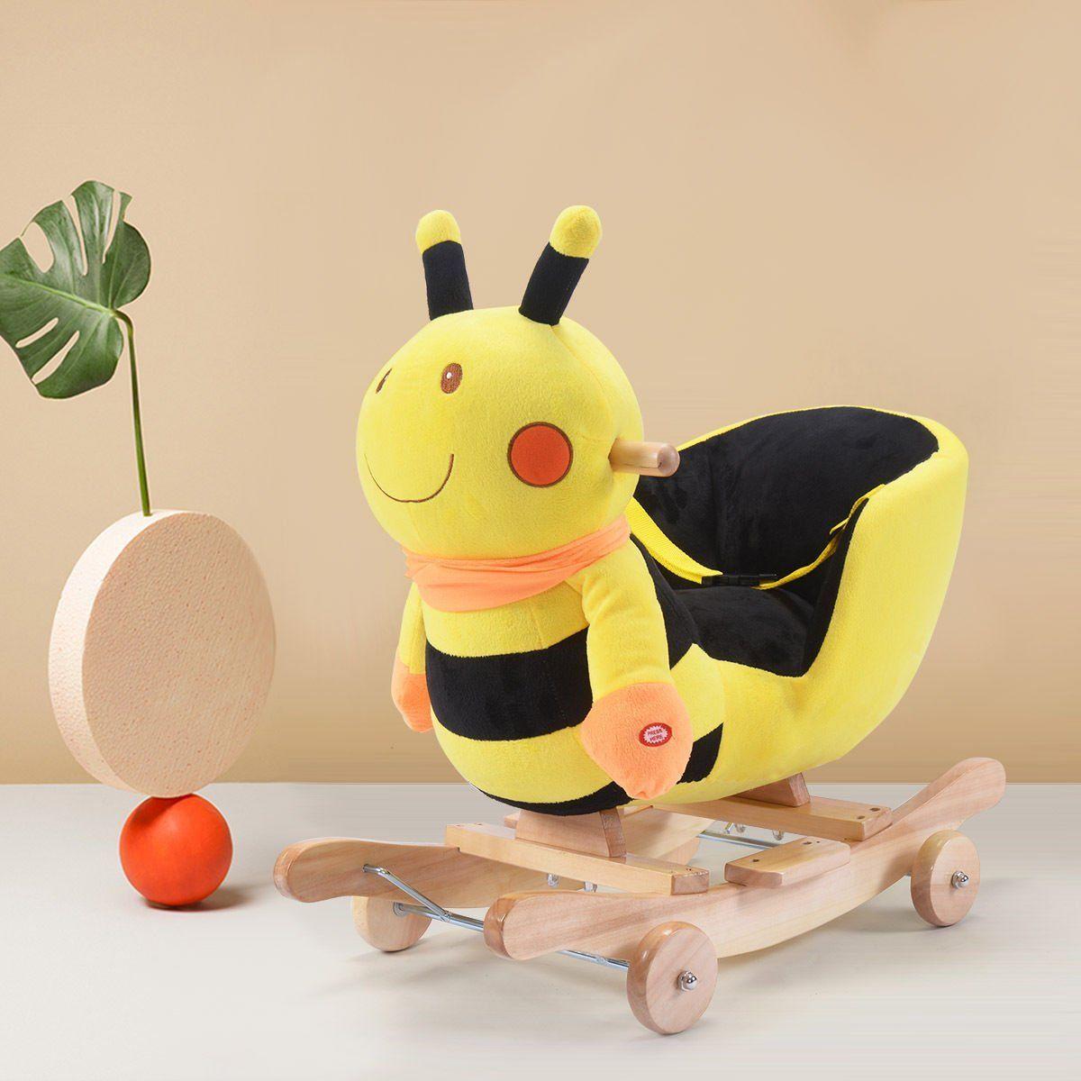 Costzon Baby Kids Toy Plush Rocking Horse Rider Toddler Seat Wood Rocker W/  Sound Wheel