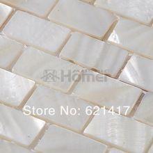 Nieuw De gratis verzending, Wit parelmoer mozaïek tegels baksteen JM-01