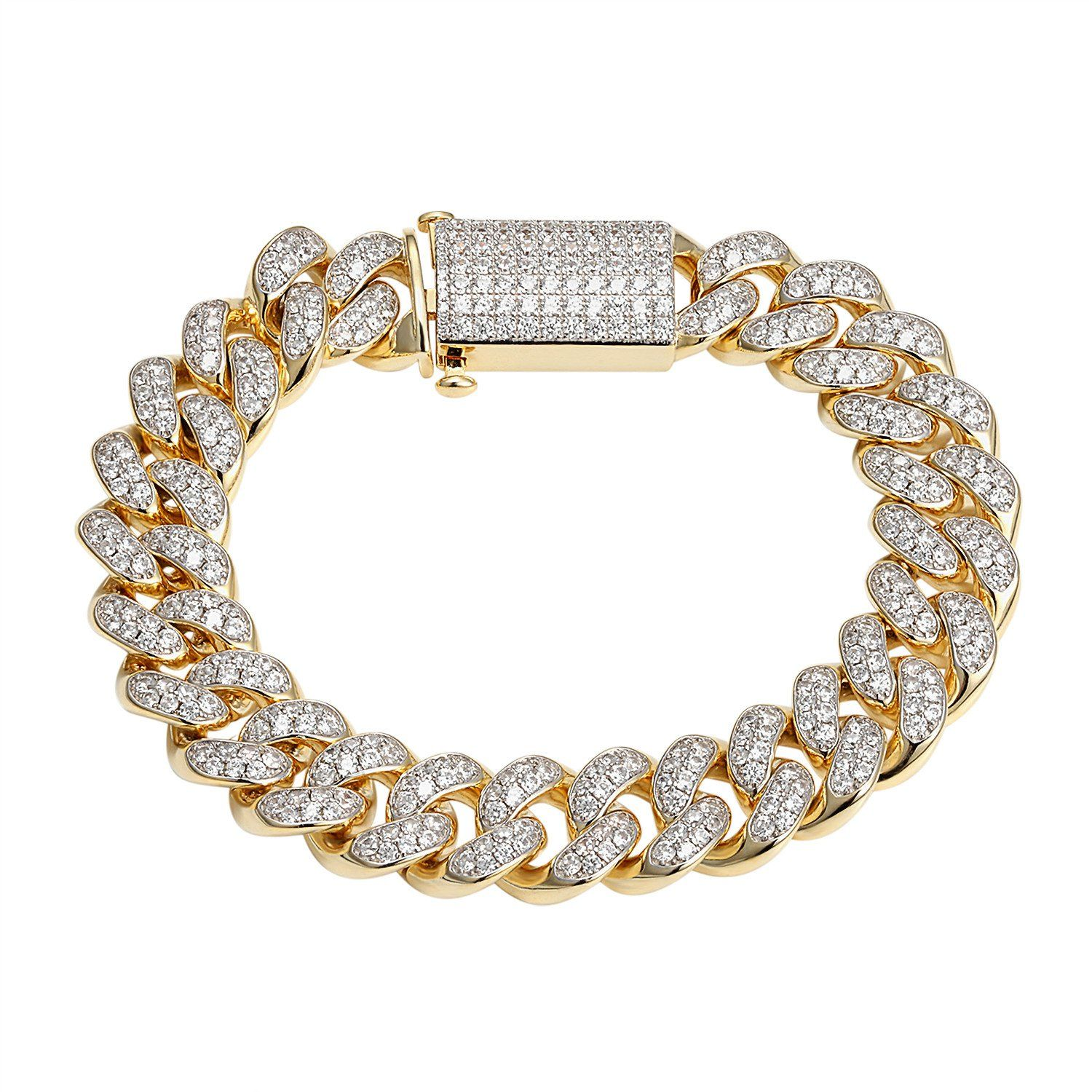 fd15b22d8ea Men's Vintage Designer Iced Cuban Link Bracelet With 14K Yellow Gold Finish  Over Solid Sterling Silver Flooded With White Simulated Lab Diamonds Stock:  ...