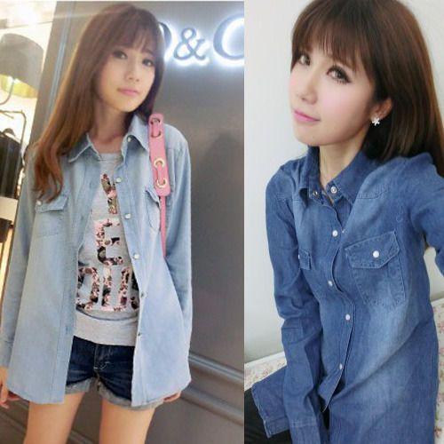 5e98cae5b7 Women Lady Girl Retro Vintage Long Sleeve Blue Jean Denim Shirt Tops Blouse  T
