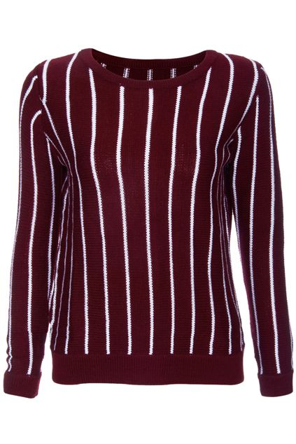 ROMWE | ROMWE Knitted White Stripes Long-sleeved Burgundy Jumper, The Latest Street Fashion